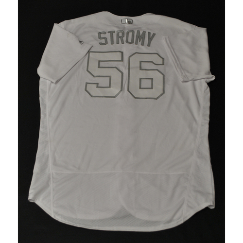"Photo of Brent ""STROMY"" Strom Houston Astros Game-Used 2019 Players' Weekend Jersey"