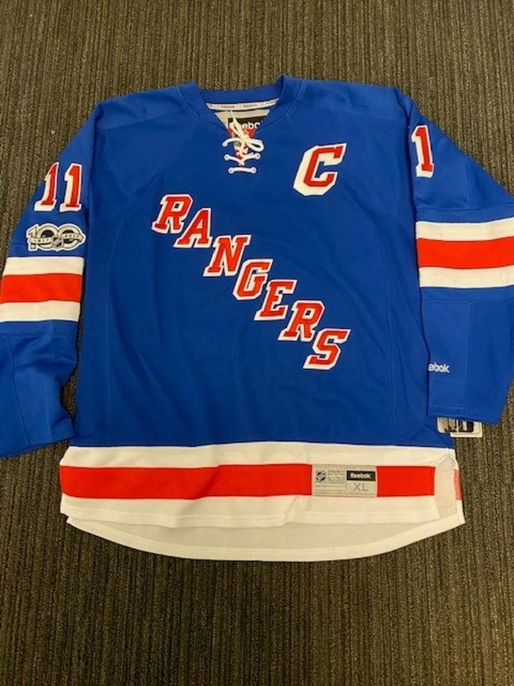 Mark Messier New York Rangers Autographed Reebok Premier Jersey with Centennial Patch and NHL 100 Inscription.  Benefitting Hockey Fights Cancer