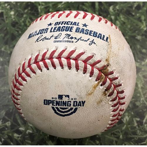 Photo of Game-Used Home Opener Baseball CHW@MIL 08/03/20 - Brett Anderson - Yasmani Grandal: RBI Sacrifice Fly
