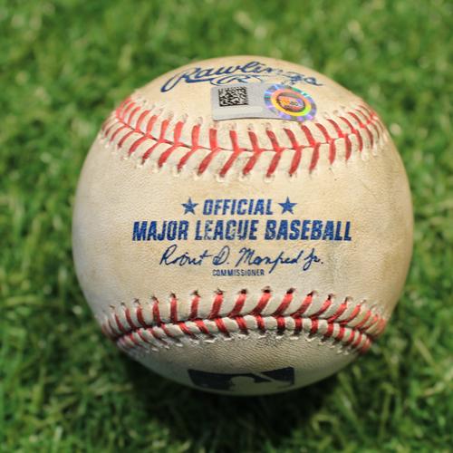 Photo of Game-Used Baseball: Jonathan Davis 29th Career Hit (TOR@KC 4/17/21 Game 1)