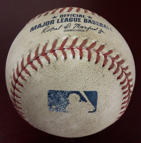 Photo of Authenticated Player Collected Baseball - Home Run by #14 Justin Smoak (29th of the Season) vs Cam Bedrosian on July 28, 2017 (Bottom 9).