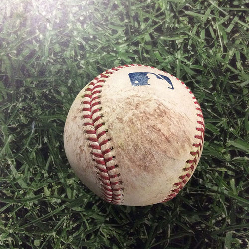 Photo of Game-Used Baseball LAD@MIL  07/20/18 - Taylor Williams - Manny Machado / Max Muncy: Single / RBI Double (Machado's Dodgers Debut)