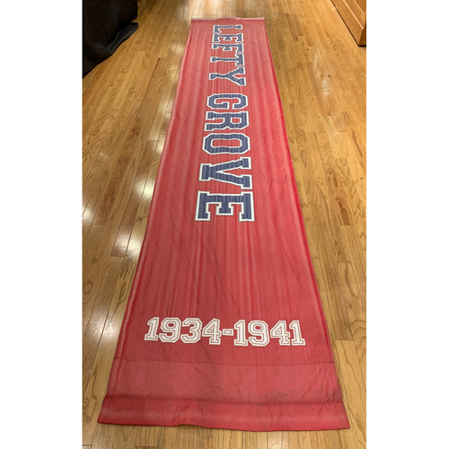 """Photo of Lefty Grove Team Issue Fenway Park Red Street Banner (34""""x168"""")"""