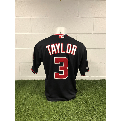 Photo of Game-Used Michael A. Taylor 2019 Navy Script Jersey with Postseason Patch