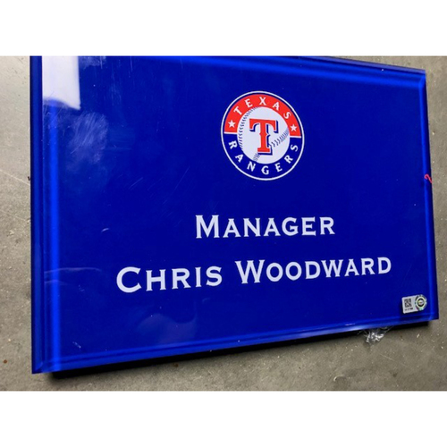 Photo of Home Clubhouse Door Sign - MANAGER CHRIS WOODWARD