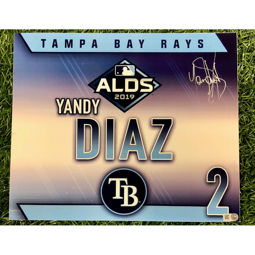Photo of Rays Baseball Foundation: Game Used Autographed Locker Tag: Yandy Diaz - ALDS - October 7, 2019 v HOU