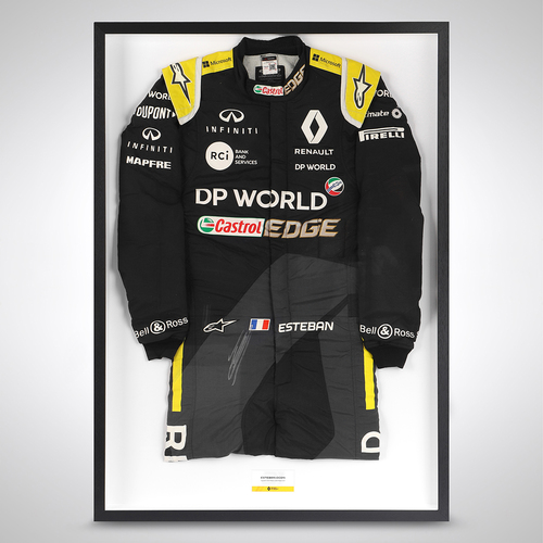 Photo of Esteban Ocon 2020 Framed Signed Race-worn Race Suit - Belgian GP