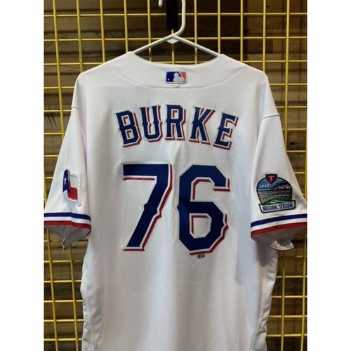 Photo of Team-Issued Brock Burke White Jersey