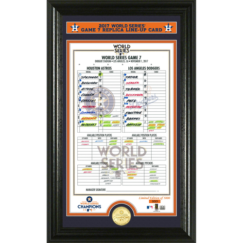 Photo of Houston Astros 2017 World Series Game 7 Line Up Card Bronze Coin Photo Mint