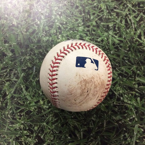 Photo of Game-Used Baseball LAD@MIL  07/22/18 - Brent Suter - Manny Machado: RBI Double (Machado's 1st XBH & RBI With Dodgers)
