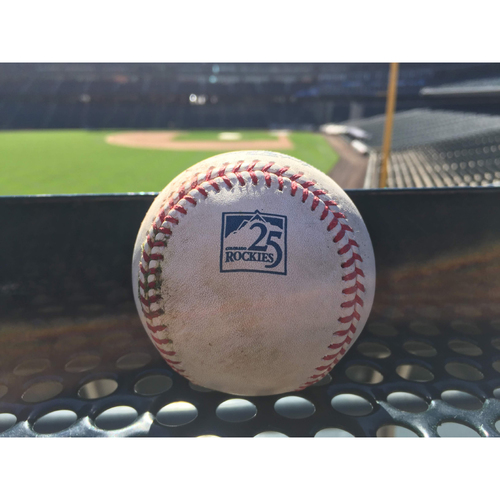 Photo of Colorado Rockies Game-Used Baseball - Bettis v. Cervelli - RBI Double (9) to Dahl, Polanco scores - August 7, 2018