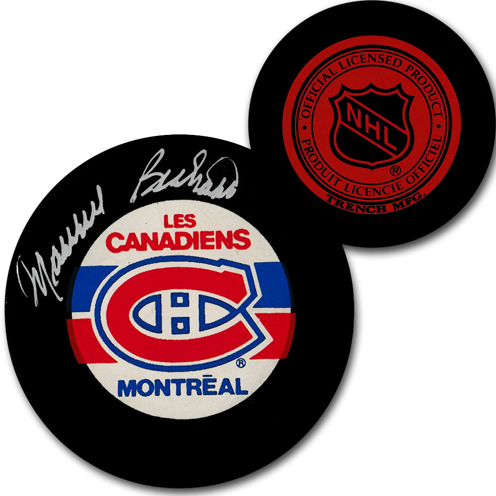 Maurice Richard Autographed Montreal Canadiens Vintage Trench Puck