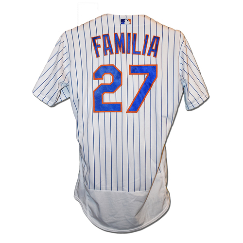 Photo of Jeurys Familia #27 - Game Used White Pinstripe Jersey - 1 IP, 0 ER, 2 K's - Mets vs. Braves - 9/28/19