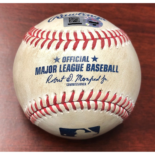 Photo of Game Used Baseball: Mookie Betts single and Rafael Devers at-bat against Nick Anderson - September 21, 2019 v BOS