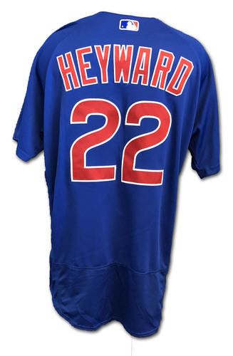Photo of Jason Heyward Game-Used Jersey -- Cubs at Rangers -- 3/31/19 -- Size 46