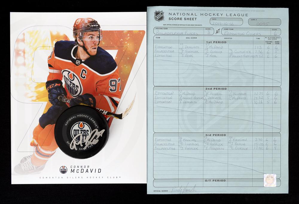 Connor McDavid #97 - Autographed 133rd NHL Career Regular Season Edmonton Oilers Goal Puck Scored On October 16, 2019 vs. Philadelphia Flyers (Fifth Of Season) - Includes Bonus Oversized Player Card & Actual NHL Scoresheet From The Game!