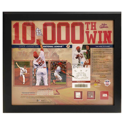 Photo of Cardinals Authentics: 10,000th Win Frame with Game Used Base, Ball and Dirt
