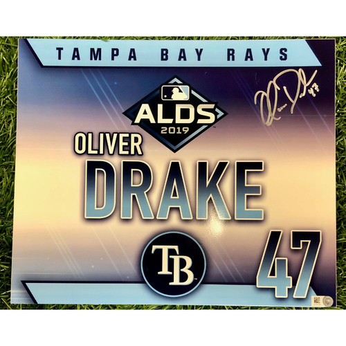 Photo of Rays Baseball Foundation: Game Used Autographed Locker Tag: Oliver Drake - ALDS - October 7, 2019 v HOU