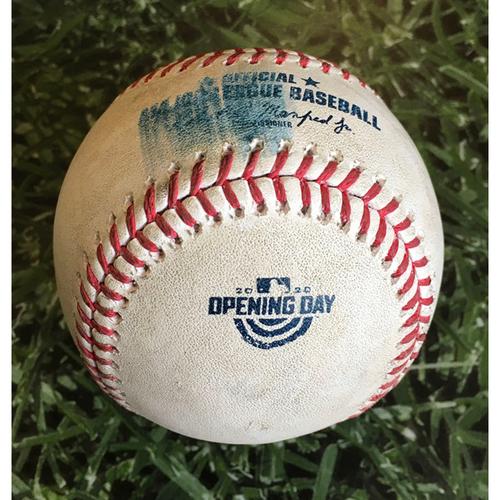 Photo of Game-Used Home Opener Baseball CHW@MIL 08/03/20 - Brett Anderson - James McCann: Foul