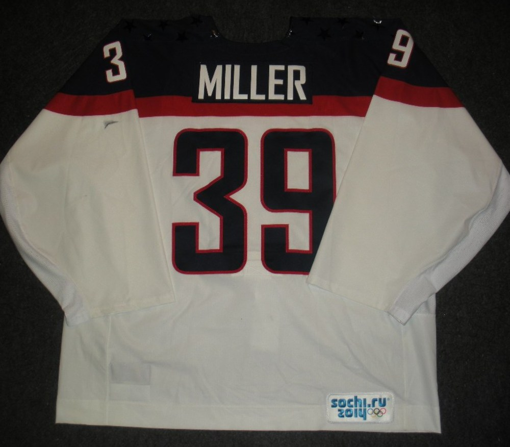 Ryan Miller - Sochi 2014 - Winter Olympic Games - Team USA White Game-Worn Backup-Only Jersey - Worn in Warmups and 1st Period vs. Slovakia, 2/13/14
