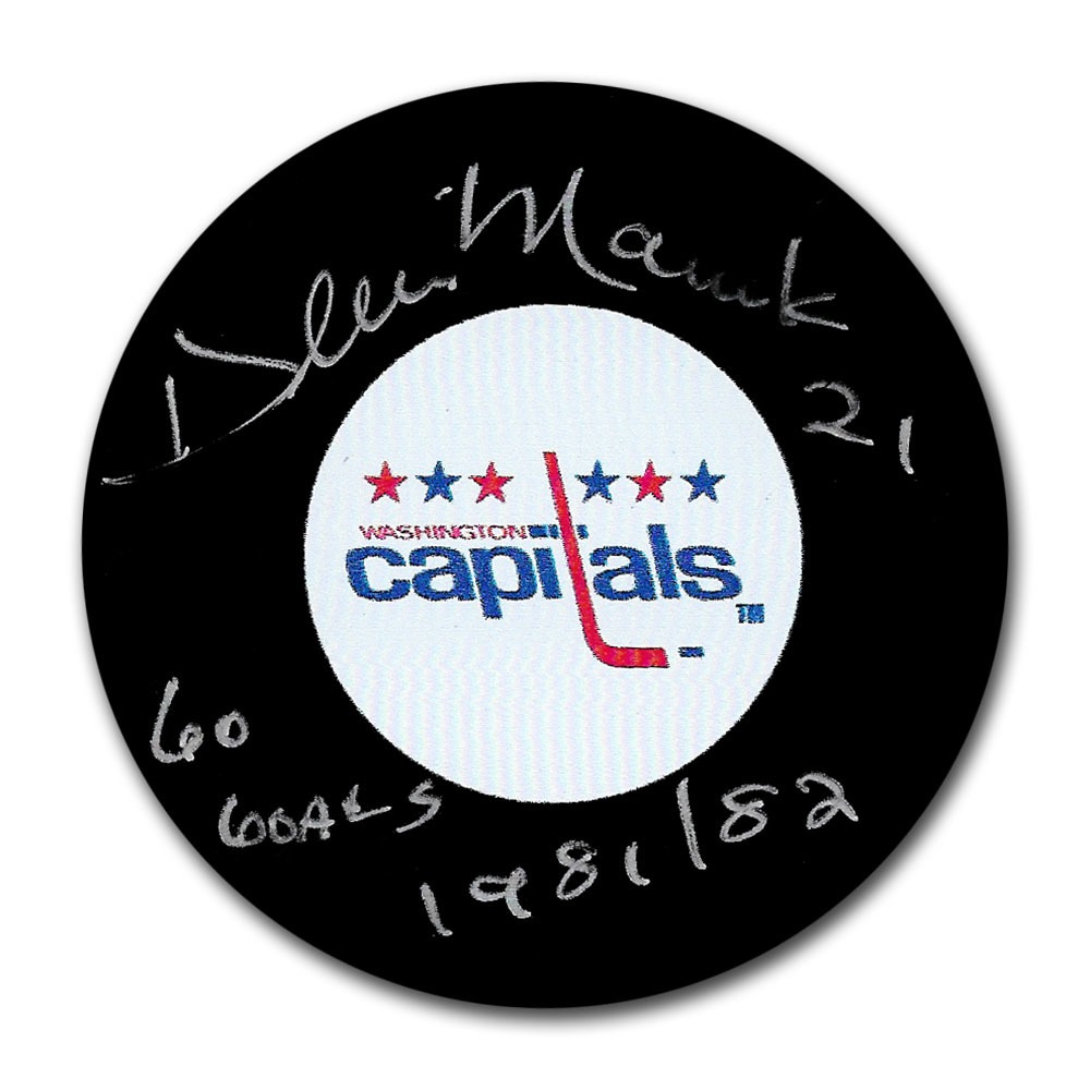 Dennis Maruk Autographed Washington Capitals Puck w/60 GOALS 1981/82 Inscription