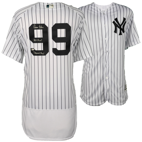 Photo of Aaron Judge New York Yankees Autographed Majestic White Authentic Jersey with All Rise and Judgment Day Inscription - Limited Edition of 99