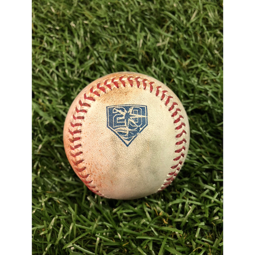 Photo of 20th Anniversary Game Used Baseball: Miguel Andujar single and Greg Bird ball in dirt against Yonny Chirinos - July 24, 2018 v NYY