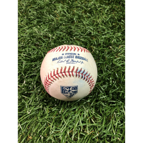 Photo of 20th Anniversary Game Used Baseball: Brandon Lowe strike out and Mallex Smith RBI single off Jason Hammel - August 22, 2018 v KC