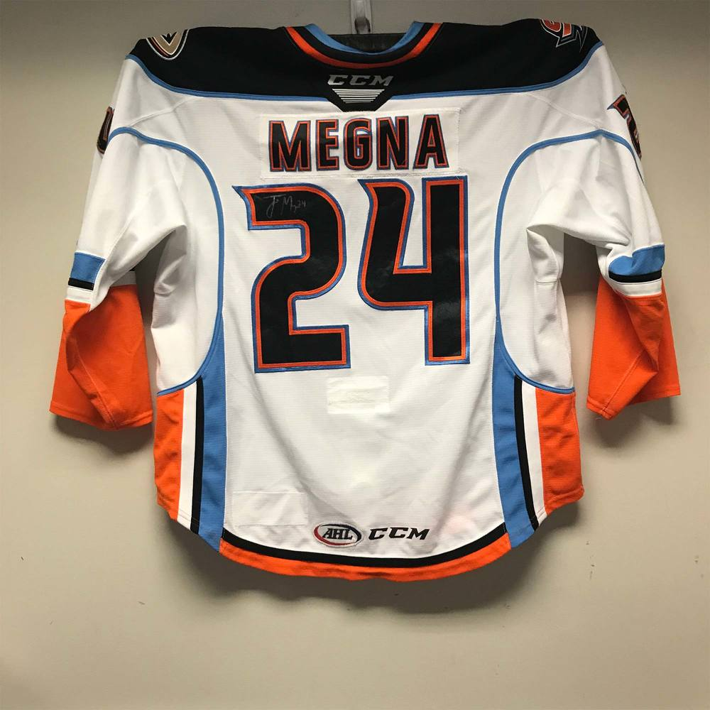 San Diego Gulls Captain's Jersey worn and signed by #24 Jaycob Megna