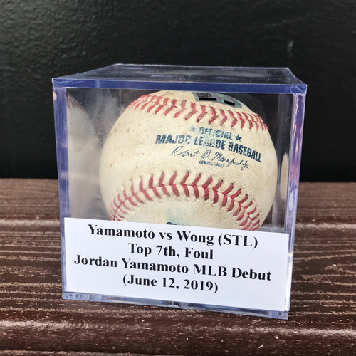 Photo of Game-Used Baseball: Jordan Yamamoto vs Kolten Wong (STL), Top 7th, Foul (June 12, 2019) *Jordan Yamamoto MLB Debut*