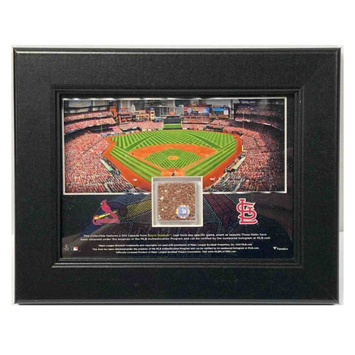 Photo of Cardinals Authentics: Busch Stadium Frame with Game Used Dirt