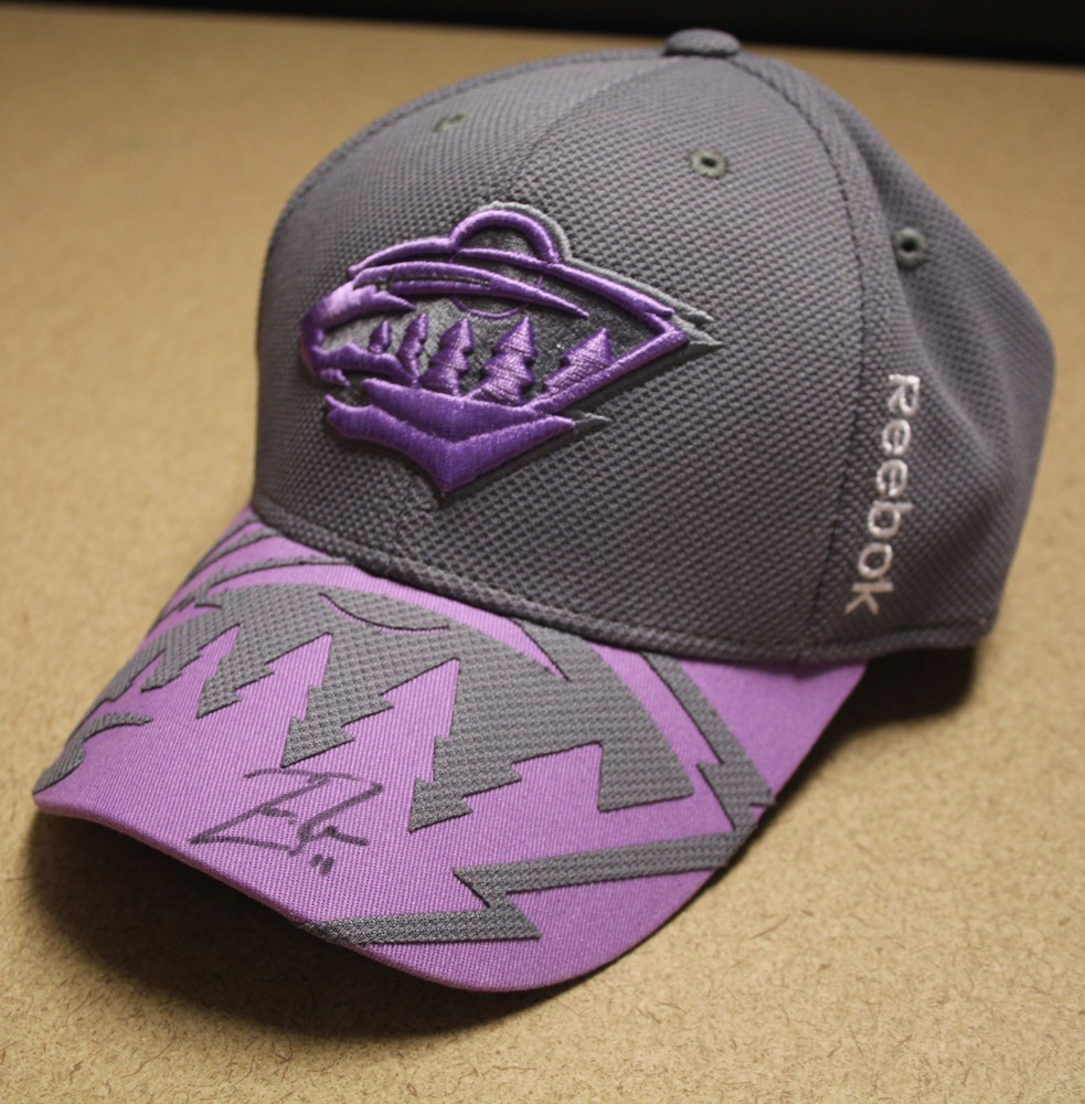 Parise Signed 2015-16 Hockey Fights Cancer Hat
