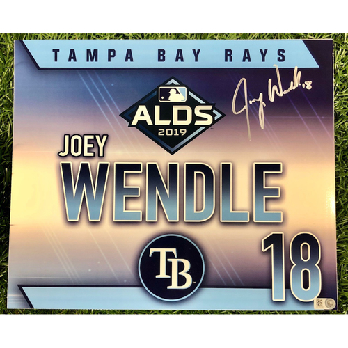 Photo of Rays Baseball Foundation: Game Used Autographed Locker Tag: Joey Wendle - ALDS - October 7, 2019 v HOU