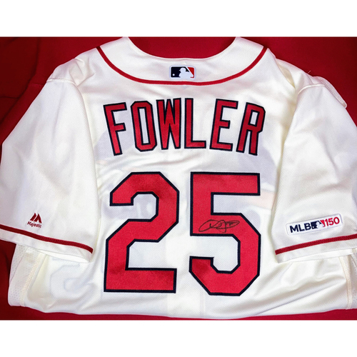 Photo of Dexter Fowler Autographed Team-Issued Home Alternate Jersey (Size 46)