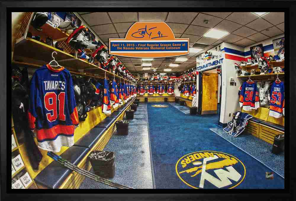 John Tavares - Signed & Framed 20x29 Canvas - New York Islanders Blue Final Game Locker Room
