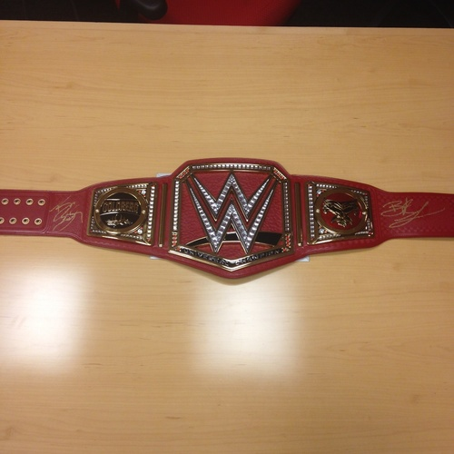 Brock Lesnar & Goldberg SIGNED WWE Universal Championship Replica Title with Side Plates (WrestleMania 33 - 04/02/17)