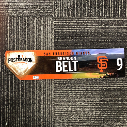 Photo of San Francisco Giants - 2016 Postseason Game Used Locker Tag - #9 Brandon Belt