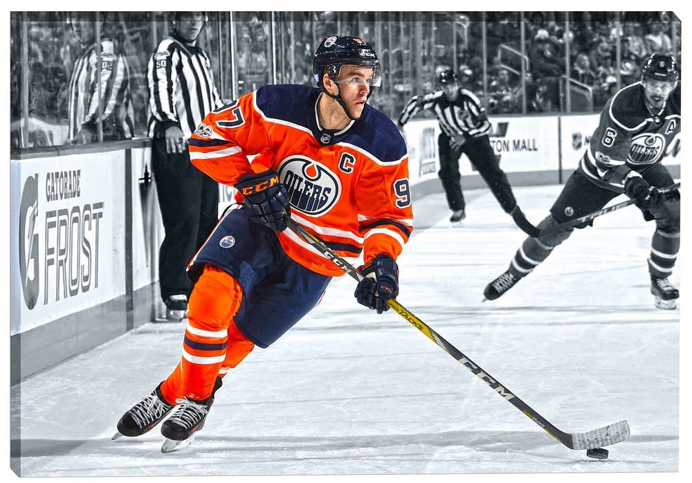 Connor McDavid - 20x29 Canvas Edmonton Oilers Spotlight Action-H