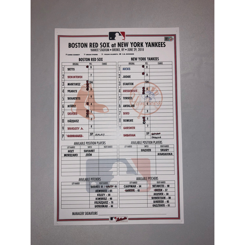 Photo of Red Sox at Yankees June 29, 2018 Game-Used Lineup Card - Yankees Win 8 to 1