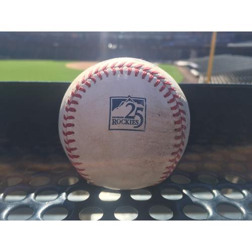 Photo of Colorado Rockies Game-Used Baseball - Kershaw v. Story - Ball - September 7, 2018