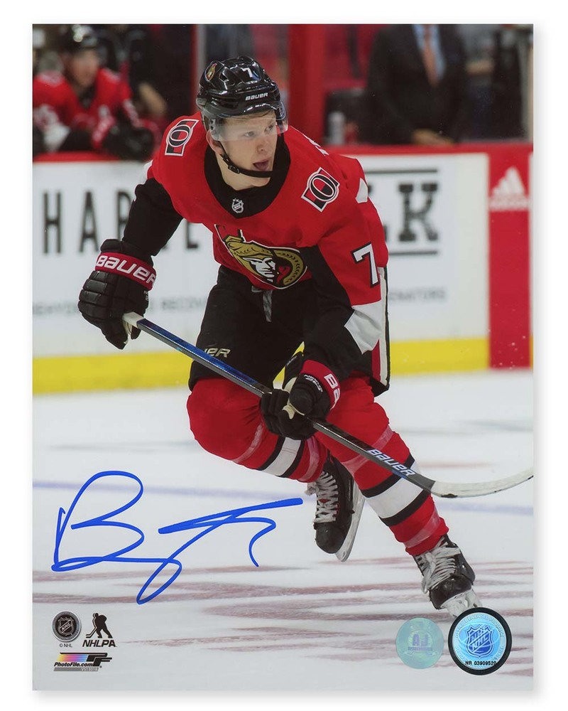 Brady Tkachuk Ottawa Senators Autographed Hockey Rookie 8x10 Photo
