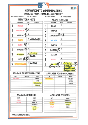 Photo of Game Used Lineup Card - Syndergaard 7 IP, 2 ER, 9 K's, Earns 7th Win; McNeil 2-4, BB and 1 Run Scored; Cano HR (5) and 2 RBI's; Mets Win 4-2 - Mets vs. Marlins - 7/13/19