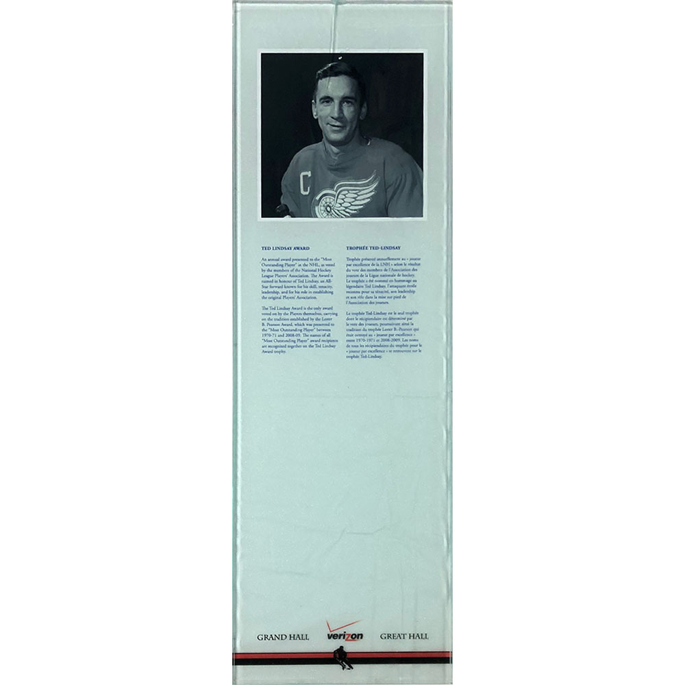 Ted Lindsay Award Plexiglass Plaque - Once on Display in the HOF's Great Hall
