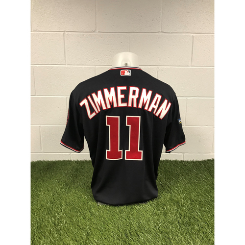 Photo of Game-Used Ryan Zimmerman 2019 Navy Script Jersey with Postseason Patch