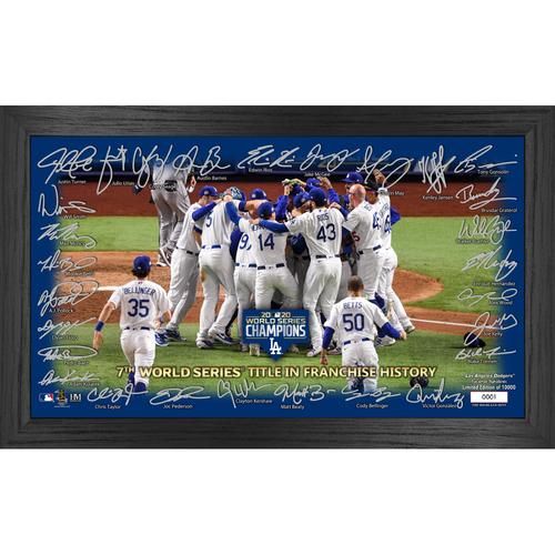 "Photo of Los Angeles Dodgers 2020 World Series Champions ""Celebration"" Signature Field"