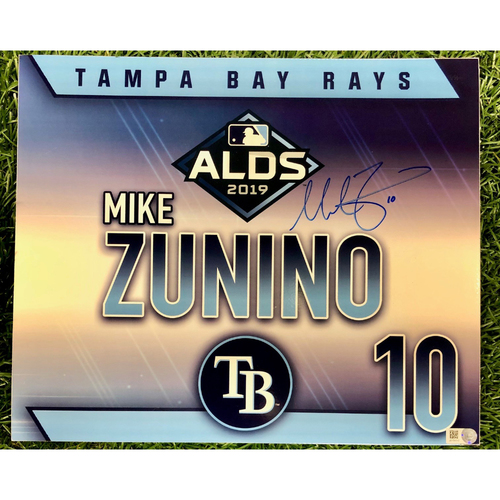 Photo of Rays Baseball Foundation: Game Used Autographed Locker Tag: Mike Zunino - ALDS - October 7, 2019 v HOU