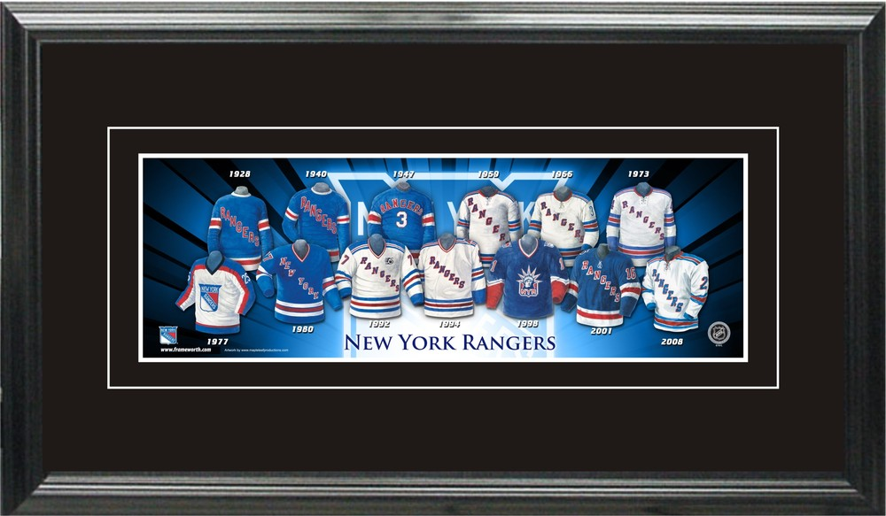 New York Rangers 5x15 Framed Jersey Evolution Print