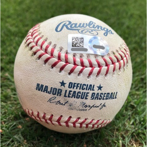 Photo of Game-Used Baseball - Carlos Tocci Ground-Rule Double - 8/31/18