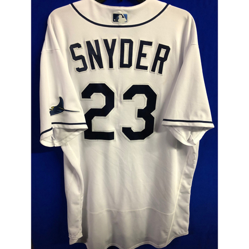Photo of Game Used ALCS Game #7 Home White Jersey: Kyle Snyder  - October 17, 2020 v HOU