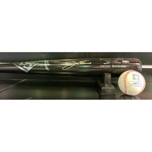 Photo of Jim Thome Autographed Bat and Autographed HOF Baseball with Inscription